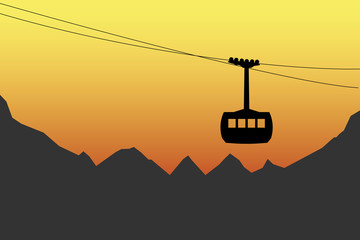 Cableway and mountains silhouettes vector