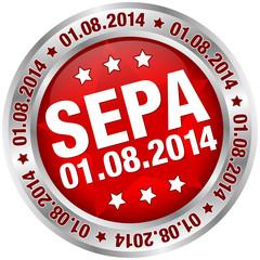 "Button ""SEPA"" August rot/silber"