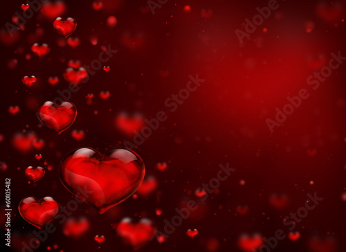 glass hearts for background of Valentine day