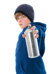 cool boy with aerosol can