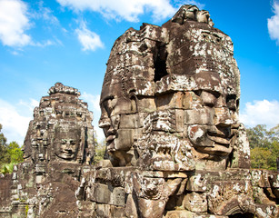 Famous smile face statues of  Prasat Bayon temple, Cambodia.
