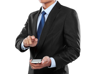 businessman holding mobile smart phone and touching screen