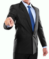 businessman hand pushing virtual screen