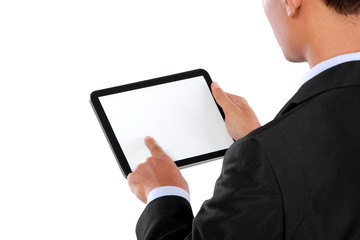 photo of a businessman using tablet PC