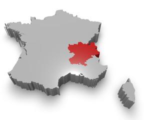 Rhône-Alpes e Francia cartina in 3d