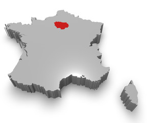 Île-de-France e Francia cartina in 3d
