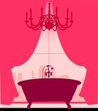 Bath on pink in retro or vintage style silhouette layered