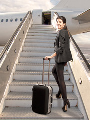 businesswoman before boarding