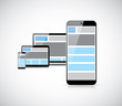 Responsive mobile first web design in smartphone vector