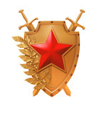 Red star on a gold shield
