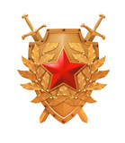 Golden shield with crossed swords and a red star