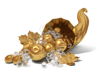 Golden horn of plenty with crystal grapes