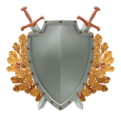 Shield with crossed swords and a golden oak wreath