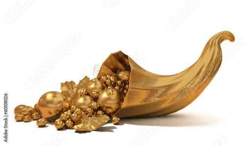 Cornucopia with gold fruit
