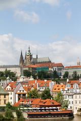 Prague castle over the roofs. Prague cityscape