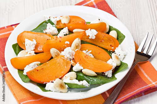 Spinach persimmon goat cheese salad