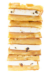 Pastry Viennese wafers isolated on the white background.