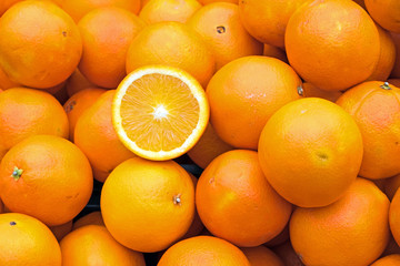Ripe oranges for sale on a market