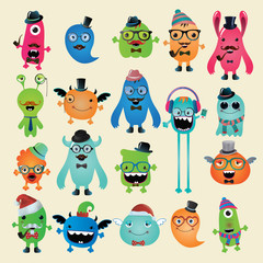 Vector Freaky Hipster Monsters Set