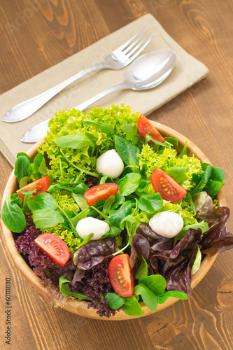 Mixed green salad with tomatoes