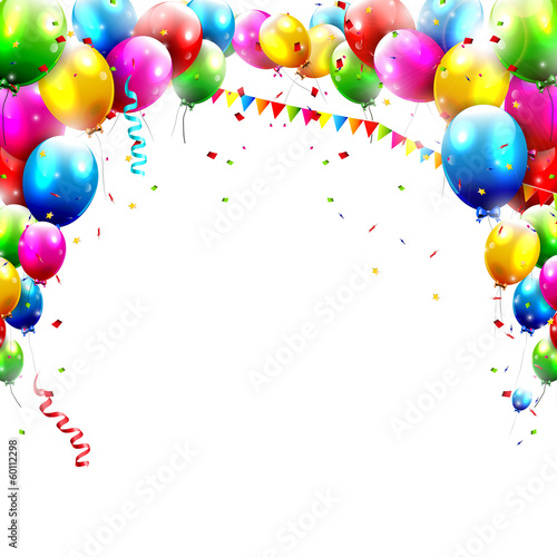 Birthday balloons isolated on white background