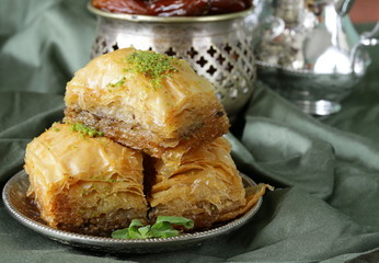 Turkish arabic dessert baklava with honey and nuts