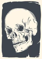 Isolated skull illustration on vintage broken paper