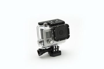 mini waterproof camera isolated on white background