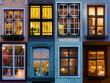 canvas print picture - Collage von beleuchteten Fenster aus Riga