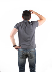 Back view of thinking man