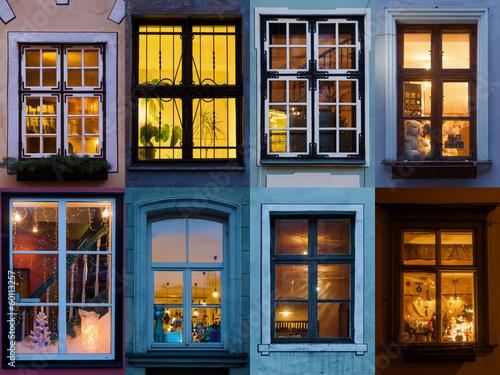 canvas print picture Collage von beleuchteten Fenster aus Riga
