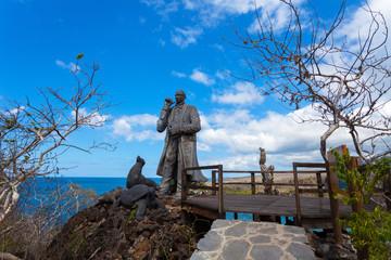 Monument to Darvin on the island of San Cristobal, Galapagos