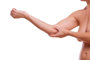 mit Daumendruck Ellenbogenschmerzen lindern
