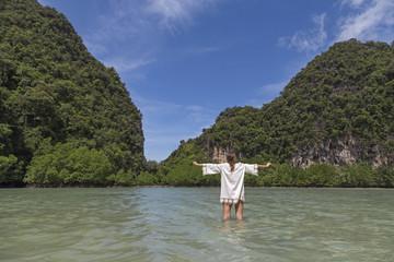 woman in paradise beach.Thailand