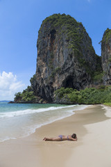 woman in paradise beach.Thailand