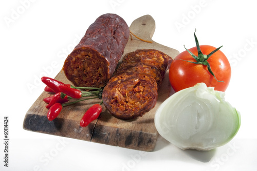 Hungarian homemade paprika salami with vegetables