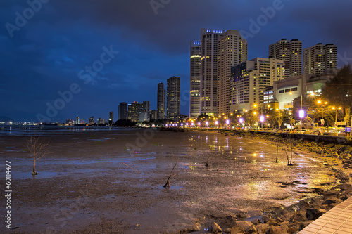 Gurney Drive along Waterfront Penang at Blue Hour