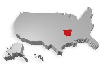 Arkansas e cartina degli Stati Uniti in 3d