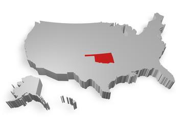Oklahoma e cartina degli Stati Uniti in 3d