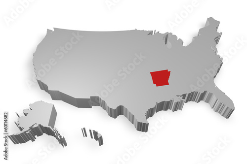 Arkansas e cartina degli Stati Uniti in 3d