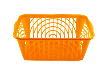 plastic basket on a white background