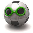 Fun soccer ball and green sunglasses