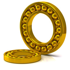 Illustration of golden ball bearing