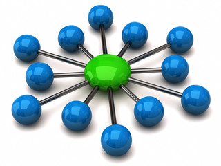 Blue and green network icon