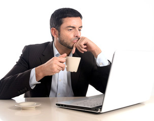 businessman with computer and coffee