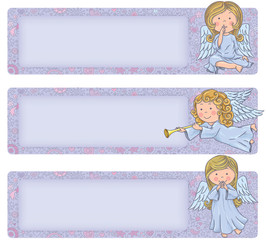Horizontal banner with cute angels