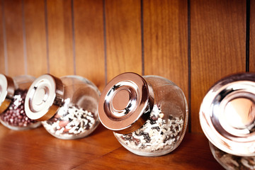 Glass jars with some spices