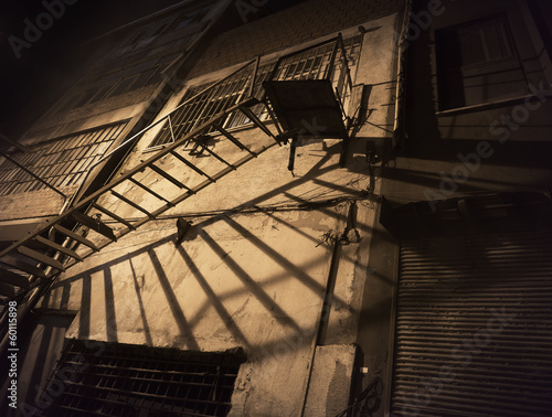 Spooky back yard with fire escape