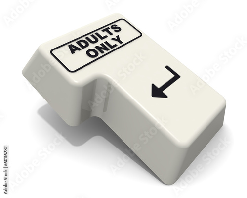 The enter key keyboard with the inscription ADULTS ONLY