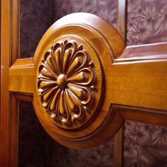 The old beautiful flower sculpture by hard wood